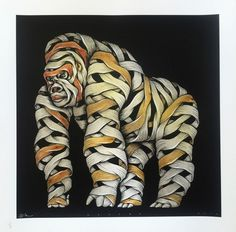 Otto Schade - Gorilla male grey spray yellow - 2016 - 54cm x 54cm - 1/1 Hand finished screen print Somerset paper 300 grs - Ministry of Walls Street Art Gallery Shop #streetart #ottoschade #osch #kunst #art #mow #mowcollection