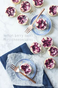 Lemon Berry Swirl Mini Cheesecakes | 18 Deliciously Decadent Lemon Desserts To Die For