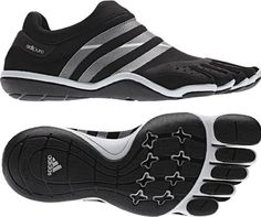 The adidas adiPure Trainer training shoe features a second skin upper with a sock-like fit. Restriction free movement from your heel to your toes allows muscles to move more naturally and strengthens feet and legs. OrthoLite sockliner provides long lasting cushion with antimicrobial protection and moisture management. Flexible, non-marking rubber outsole adds traction and durability. Flex groves in the toes offer increased flexibility. Non-removable insole. Wt. 5.2 oz.