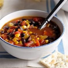 Texas Black Bean Soup Recipe -This hearty stew made with convenient canned items is perfect for spicing up a family gathering on a cool day. It tastes great and requires so little time and attention. —Pamela Scott of Garland, Texas.