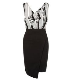 """Parisian. Work monochrome chic into your evening wardrobe with this black stripe 2 in 1 wrap bodycon dress. Pair with ankle strap heels to complete the look.- Stripe print top- 2 in 1 design- Asymmetric hem- Wrap front- V neckline- Sleeveless design- Zip back fastening- Bodycon for a closely cut fit- Mini length- Model is 5'8""""/176cm and wears UK 10/EU 38/US 6"""