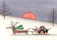 Dachshund (doxie) family takes a sled ride / Lynch signed folk art print