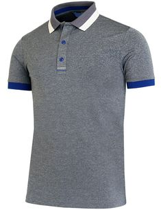 melange Polo Rugby Shirt, Blue Polo Shirts, Polo T Shirts, Men's Polo, Camisa Polo, Polo Shirt Outfits, Polo Design, Customise T Shirt, Golf Pants