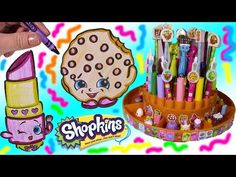 SHOPKINS Pen Pencils & Markers ORGANIZER! Color Kooky Cookie & Lippy Lips! FUN Stickers! - YouTube