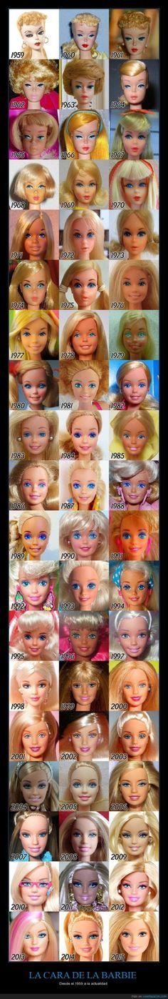 ¿A partir de cuál os empezáis a acordar? - La cara de la #Barbie desde el 1959 a la actualidad