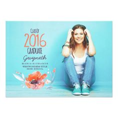 Whimsical and Cute Photo Graduation Announcement