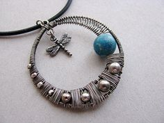 Dragonfly Blue Moon Sterling Silver Pendant by AroundBeads, via Flickr