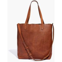 MADEWELL The Medium Transport Tote (2.085.600 IDR) ❤ liked on Polyvore featuring bags, handbags, tote bags, english saddle, brown leather tote bag, leather tote purse, leather purses, tote purses and leather tote