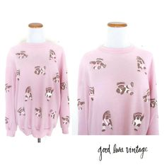 Teddy Bear Sweatshirt Sweater 80s Soft Thin Pullover 1980s Puffy Print Jazzercise Workout Exercise Kawaii Novelty Pastel Pink Size Large by GoodLuxeVintage on Etsy