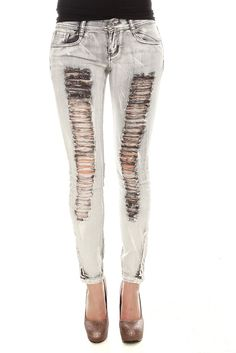 Lovesick Distresed Bleach Grey Skinny Jeans - Hot Topic