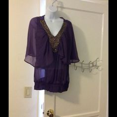 Sheer purple shirt Beautiful purple sheer shirt with gold buttons.  Unique and gorgeous.  Ruffled bottom. Sfera Tops Blouses