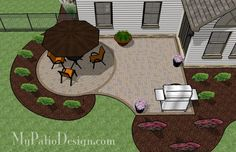 Simple Brick Patio with Circle Paver Kit - Patio Designs & Ideas