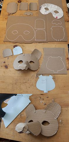 Make A Simple Cardboard Mask for Kids Paper Mache Mask, Paper Mask, Paper Clay, Diy With Kids, Crafts For Kids, Cardboard Crafts Kids, Cardboard Animals, Cardboard Mask, Bear Mask