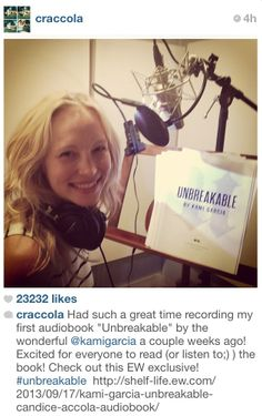 Candice Accola from #TVD and #TheOriginals in the studio recording the #UNBREAKABLE audiobook #thelegionseries #kamigarcia #yabooks #paranormal #supernatural #candiceaccola *