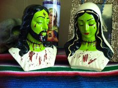 Set of Two Bloody Zombie Jesus and Mary Figures by GlamourGhoul13, $40.00