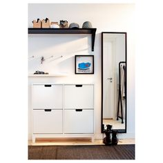 HOME: Apartment makeover STÄLL shoe cabinet, 4 compartments, white - cm - IKEA Vacuums The Val Shoe Cabinet Entryway, Entryway Shoe Storage, Ikea Entryway, Apartment Entryway, Locker Storage, Entryway Ideas, Hallway Ideas, Ikea Hallway, Dark Hallway
