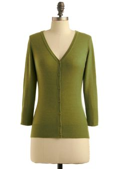Charter School Cardigan in Sage - Green, Solid, 3/4 Sleeve, Work, Casual, Fall, Winter, Mid-length from Modcloth