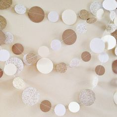 Neutral Garland Kraft Cream Gold White Winter by PopOfHappy (Use glittery, shimmery metallic, and/or patterned felt)
