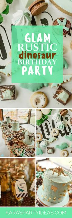 Glam Rustic Dinosaur Birthday Party via Kara's Party Ideas - KarasPartyIdeas.com