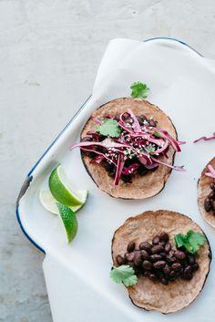 mole black bean tacos w/ cabbage + cilantro slaw | v + gf