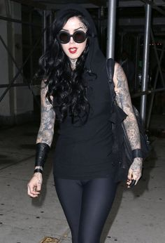 Kat Von D Photos - Tattoo artist Kat Von D and a friend spotted out and about in New York City, New York on June 9, 2014. Kat's make-up Lock-It Tattoo foundation has been getting big news after a women on Reddit posted before and after pictures of her with severe sunburn on her face. It the before her face was extremely red with an outline of her sunglasses after putting on Kat's make-up you couldn't even tell she had sunburn. - Kat Von D Spotted Out and About in NYC