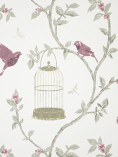 Birdcage Walk wallpaper by Nina Campbell for Osborne & Little -- I picked this particular color combo for its rich yet muted tones (not a paradox!)... and because the birds are *not* in the cage!