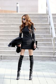 Corrugated Neck Zip Dress Black , Korean , red hair , knee highs , legs ! Whew !