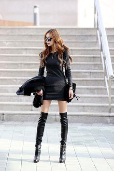 Corrugated Neck Zip Dress  Black , Korean , red hair , knee highs , legs !  Whew !
