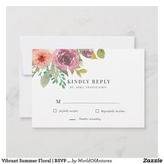 Customizable Response Card made by Zazzle Invitations. Wedding Rsvp, Wedding Cards, Response Cards, No Response, Watercolor Wedding Invitations, Summer Flowers, Zazzle Invitations, Summer Wedding, Vibrant Colors