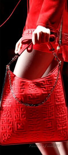Versace red suede leather shoulder bag For Sale at Fall Handbags, Purses And Handbags, Leather Handbags, Hermes Handbags, Red Fashion, Fashion Bags, Womens Fashion, Versace Fashion, Beautiful Handbags