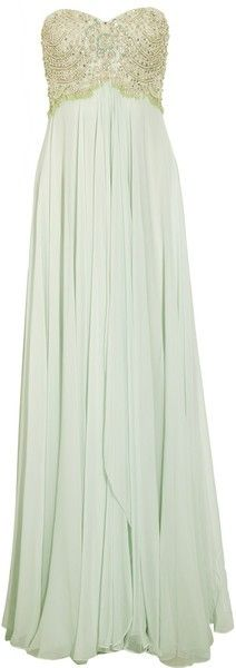 Long and dazzeling-mint dress..... Would be gorgeous as a bridesmaids dress!