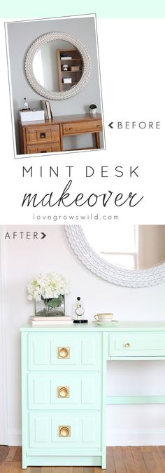 Come see how this old wood desk got a fun, mint-colored makeover! Click for details at LoveGrowsWild.com
