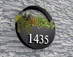 Custom Backlit Signs Office Wall Signs Reception Logo by Pupax Address Numbers, Address Plaque, Led House Numbers, Backlit Signs, Hanging Wall Planters, Wall Logo, House Front, Wall Signs, Flower Pots