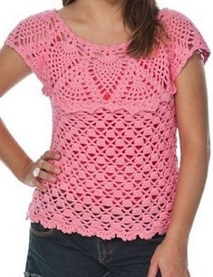 how to crochet this beautiful pink blouse Crochet Blouse, Crochet Top, Crochet Dresses, Craft Patterns, Crochet Patterns, Crochet Gifts, Funny Shirts, Knitting, Pink