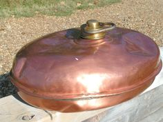 Antique MARKED Copper Fireplace Bed Foot Warmer bz