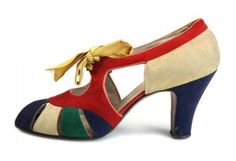 """""""What, in these shoes?""""  Openwork heels in multicolor suede, with a silk ribbon"""