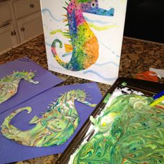 Read Mister Seahorse by Eric Carle, then swirl food coloring into shaving cream. Gently place seahorse cut out onto shaving cream, press softly and lift up. What a beautiful marbled effect! No one is alike.