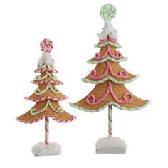 "RAZ Waffle Gingerbread Tree Set of  Set of 2 assorted Waffle Gingerbread Trees Pink, Brown, White Made of Polyfoam Measures 23.5"" X 13.5"", 18.5"" X 9.5""  RAZ Candy Wonderland Collection"