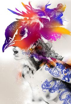 """""""Peacock III"""" (Animal Beauty Series) - Gabriel Moreno, digital, pencil, pen, pen ball, and watercolor on varnished wood board, 2014 {contemporary figurative artist discreetly blurred nude female torso with bird head and tattoos mixed media illustration} #noveltechnique gabrielmorenogallery.com"""