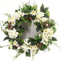 Wreath For Door Signs Of Summer Front Door Wreath Black Raspberry White Hydrangea Daisy Wreath Indoor Outdoor Year Round Everyday Decoration Kitchen Dining Area Traditional To Farmhouse Decor 22 Inch Summer Door Wreaths, Wreaths For Front Door, Spring Wreaths, Paper Flowers Wedding, Silk Flowers, Mothers Day Wreath, Artificial Flower Arrangements, Door Signs, Black Raspberries