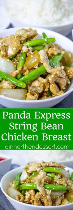 Panda Express String Bean Chicken Breast with onions cooked quickly in a wok in…