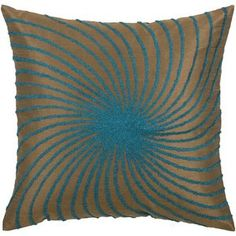 Rizzy Home T-3585 18 Decorative Pillow in Brown / Aqua Blue (Set of 2)