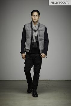 FV100-H. GREY-QUILTED VEST //  ASK105-BLACK-HANDLOOMED STRIPE SCARF // FT106-BLACK-COMBAT PANT