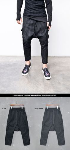 Bottoms :: Pin Striped Cargo Ankle Baggy-Pants 205 - Mens Fashion Clothing For An Attractive Guy Look