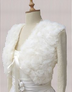 Bridal Shrug  Bolero with Tulle Knitted 3/4 by crochetbutterfly, $85.00