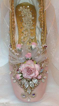 OOAK Pink and Gold Sugarplum Fairy Pointe shoe by DesignsEnPointe