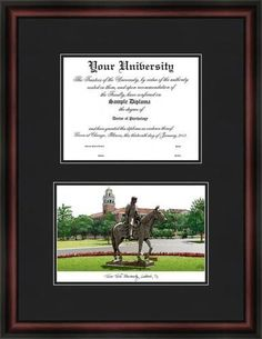 Texas Tech University Diploma Frame & Lithograph Print
