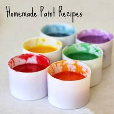 Homemade Paint Recipes - Pre-K Complete Preschool Curriculum has Art class every week, and free play at the Art Learning Center daily. Repinned by Pre-K Complete - follow us on our blog, FB, Twitter, and Google Plus.