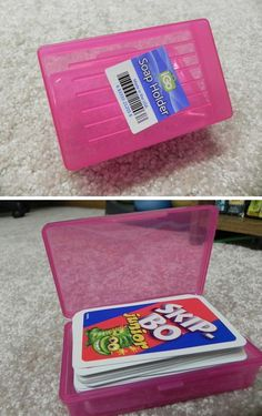 50 Genius Storage Ideas ~ Use cheap soap box holders to organize cards, crayons and other toys!