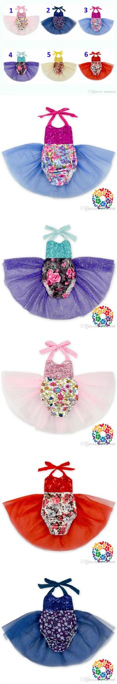 Sweet Newborn Baby Rompers Kids Floral Sequins Tutu Rompers Multi Color Sweet Baby Fashion Jumpsuits